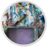Art Table With Water And Brush Round Beach Towel