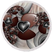 Art With Heart Round Beach Towel