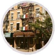 Arthur Avenue In The Bronx Round Beach Towel