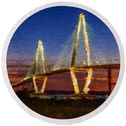 Arthur Ravenel Bridge At Evening  Round Beach Towel