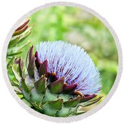 Artichoke Flower Round Beach Towel