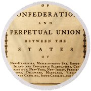 Articles Of Confederation, 1777 Round Beach Towel