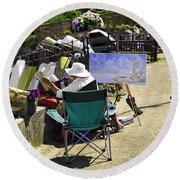 Artist At Work In Seaview - Isle Of Wight Round Beach Towel