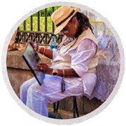 Artist At Work - Painting  Round Beach Towel