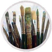 Artist Paintbrushes Round Beach Towel
