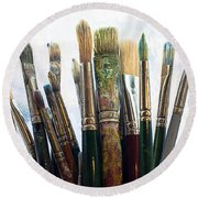 Artist Paintbrushes Round Beach Towel