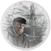 Artistic Digital Image Of An Old Sea Captain Round Beach Towel