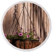 Artistic Hanging Basket Of Petunias Round Beach Towel