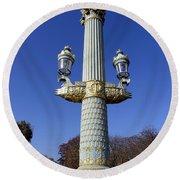Artistic Lamp Post At The Place De La Concorde In Paris France Round Beach Towel