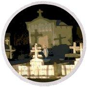Louisiana Midnight Cemetery Lacombe Round Beach Towel