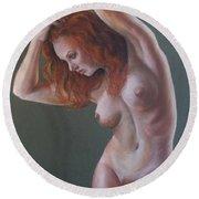 Artistic Nude Round Beach Towel by Leida Nogueira