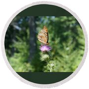 Artistic Butterfly Stand  Round Beach Towel