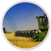 Artists Choice Two Combine Harvesters Round Beach Towel