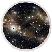 Artists Concept Of A Black Hole Round Beach Towel by Marc Ward