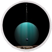 Artists Depiction Of A Ringed Gas Giant Round Beach Towel by Marc Ward