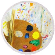 Artists Easel And Splatter Round Beach Towel