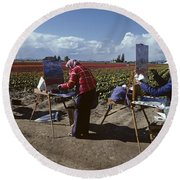 Artists Painting Tulip Fields Standing In A Row  Round Beach Towel