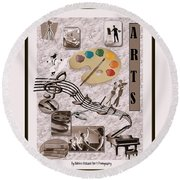 Arts Collage Round Beach Towel