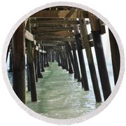 Long Walk Short Pier Round Beach Towel