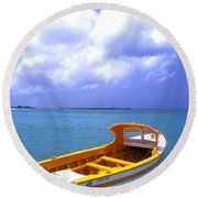 Aruba. Fishing Boat Round Beach Towel by Anonymous