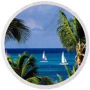 Arubian Sails Round Beach Towel