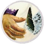 As Delicate As A Butterfly  Round Beach Towel