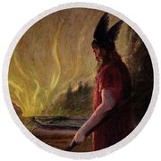 As The Flames Rise Odin Leaves Round Beach Towel