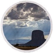 As The Storm Moves In Round Beach Towel
