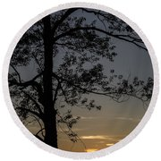 As The Sun Fades Behind The Mountian Round Beach Towel