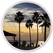 As The Sun Sets South Padre Island Texas Round Beach Towel
