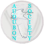 As Turquoise Text Round Beach Towel