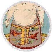 Asashio Toro A Japanese Sumo Wrestler Round Beach Towel