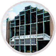 Asbury Park Casino - My City In Ruins Round Beach Towel by Bill Cannon