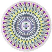 Ascending Eye Of Spirit Kaleidoscope Round Beach Towel by Derek Gedney