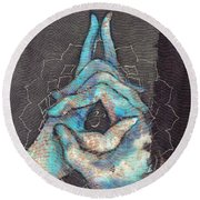 Ascension - Crown 'blue Hand' Chakra Mudra Round Beach Towel