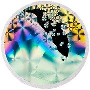Ascorbic Acid Crystals In Polarized Light Round Beach Towel