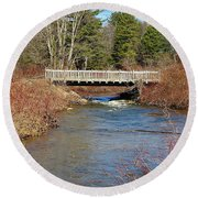 Ash Brook And Bridge Round Beach Towel