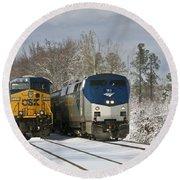 Ashland Trains In The Snow Round Beach Towel
