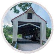 Ashtabula Collection - Mechanicsville Road Covered Bridge 7k0207 Round Beach Towel