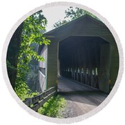 Ashtabula Collection - Middle Road Covered Bridge 7k01959 Round Beach Towel