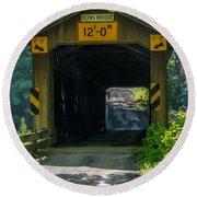 Ashtabula Collection - Olin's Covered Bridge 7k01978 Round Beach Towel