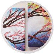 Asian Bloom Triptych 2 3 Round Beach Towel