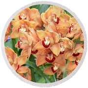Asian Corsage Orchid Round Beach Towel