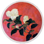Asian Floral Round Beach Towel