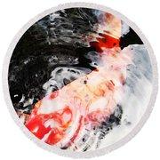 Asian Koi Fish - Black White And Red Round Beach Towel