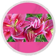 Asian Lily Flowers Round Beach Towel