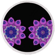 Asian Purple Orchids Round Beach Towel