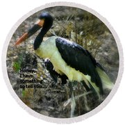 Asian Stork With Message Round Beach Towel