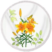 Asiatic Hybrid Lily Round Beach Towel