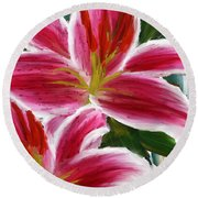 Asiatic Lily- Asiatic Lily Paintings- Pink Paintings Round Beach Towel